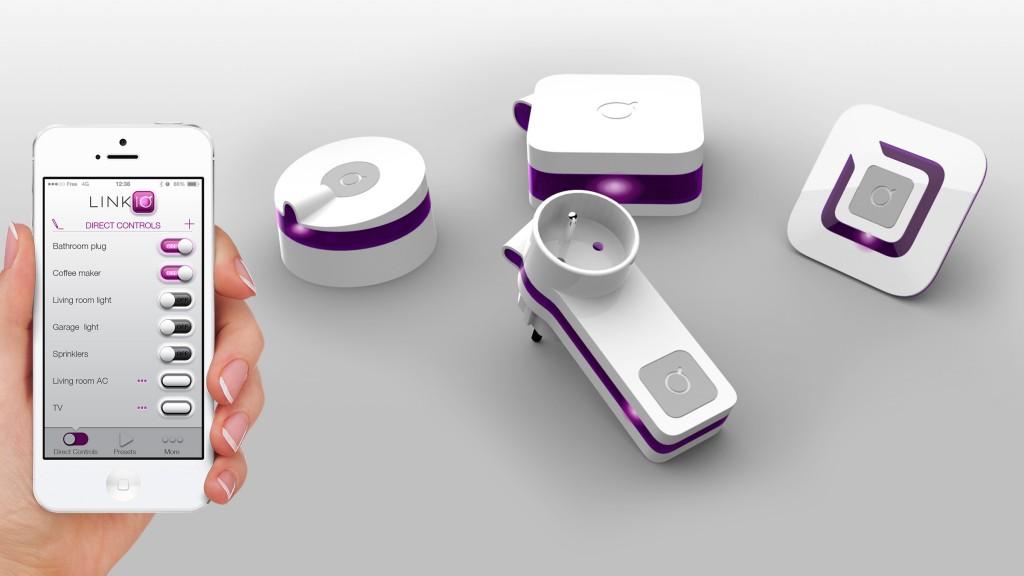Une vue de la Famille Linkio: une application , un Hub, des plugs, des interrupteurs muraux et un controleur infrarouge